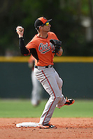 Second baseman Tucker Nathans (32) of the Baltimore Orioles organization during a minor league spring training camp day game on March 23, 2014 at Buck O'Neil Complex in Sarasota, Florida.  (Mike Janes/Four Seam Images)