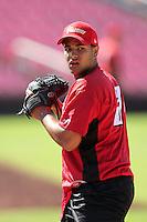 Salem-Keizer Volcanoes pitcher Lorenzo Mendoza #31 before a game against the Spokane Indians at Volcanoes Stadium on August 10, 2011 in Salem-Keizer,Oregon. Salem-Keizer defeated Spokane 7-6.(Larry Goren/Four Seam Images)