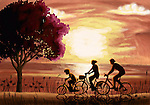 Illustration of family riding bicycle at beach during sunset