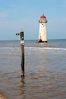 Footpath sign at Point of Ayr lighthouse, Talacre, North Wales.