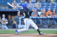 UNC Asheville Bulldogs right fielder Kyle Carruthers (3) swings at a pitch during a game against the Tennessee Volunteers at McCormick Field on March 15, 2016 in Asheville, North Carolina. The Volunteers defeated the Bull Dogs 7-3. (Tony Farlow/Four Seam Images)