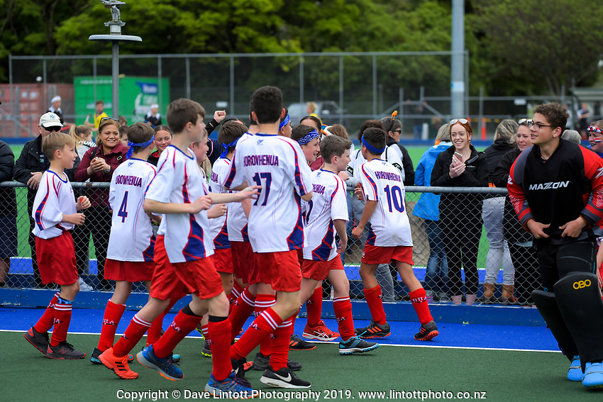 Action from the 2019 Hatch Cup Under-13 Boys' Hockey Tournament semifinal between Horowhenua and Nelson at Fitzherbert Park Twin Turfs in Palmerston North, New Zealand on Friday, 11 October 2019. Photo: Dave Lintott / lintottphoto.co.nz