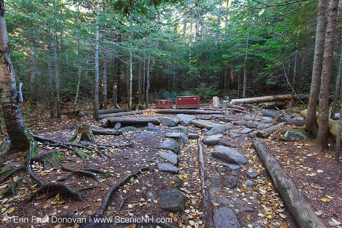 Food preparation area at Ethan Pond Shelter in the White Mountains of New Hampshire during the autumn months. This shelter is located just off of the Ethan Pond Trail (Appalachian Trail).