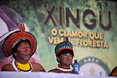 Rio de Janeiro, Brazil. Imperatriz Leopoldinense samba school; preparations for carnival; press conference - Kotoki Kamayura (r) and Bemoro Metuktire (l).