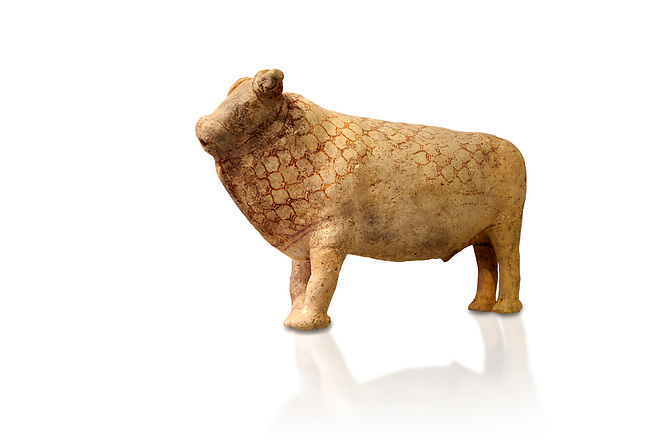 Minoan bull shaped rhython libation vessel decorated with a net pattern , Pseira  1500-1400 BC BC, Heraklion Archaeological  Museum, white background.<br /> <br /> The net pattern over the bull and its cut horns signify that it is a wild bull intended for sacrifice.