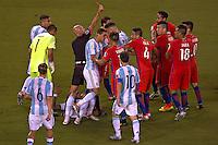 Action photo during the match Argentina vs Chile corresponding to the Final of America Cup Centenary 2016, at MetLife Stadium.<br /> <br /> Foto durante al partido Argentina vs Chile cprresponidente a la Final de la Copa America Centenario USA 2016 en el Estadio MetLife , en la foto:Expulsion Charles Aranguiz<br /> <br /> <br /> 26/06/2016/MEXSPORT/JAVIER RAMIREZ
