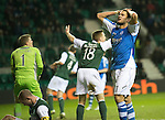 Hibs v St Johnstone.....11.02.13      SPL.Mehdi Abeid reacts after his effort at goal is saved.Picture by Graeme Hart..Copyright Perthshire Picture Agency.Tel: 01738 623350  Mobile: 07990 594431