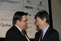Montreal (Qc) CANADA - April 16 2009 - Exclusive Photo<br /> denis coderre and <br /> Ecomonist Jeffrey Sachs (R) during Montreal's 2009 Millenium Summit