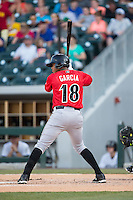 Willy Garcia (18) of the Indianapolis Indians at bat against the Charlotte Knights at BB&T BallPark on June 20, 2015 in Charlotte, North Carolina.  The Knights defeated the Indians 6-5 in 12 innings.  (Brian Westerholt/Four Seam Images)