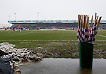 Northampton Town 1 Oxford United 0, 23/03/2013. Sixfields, League Two. Oxford United are the visitors to Sixfields as the long British winter continues in Northamptonshire. Flags at the ready to welcome the teams onto the pitch. Photo by Simon Gill