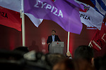 Athens, Greece, January 22, 2015. Omonia square. Alexis Tsipras during the final political rally for Syriza.