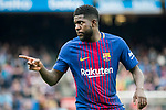 Samuel Umtiti of FC Barcelona celebrates during the La Liga 2017-18 match between FC Barcelona and Valencia CF at Camp Nou on 14 April 2018 in Barcelona, Spain. Photo by Vicens Gimenez / Power Sport Images