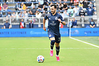 KANSAS CITY, KS - MAY 16: Luis Martins #36 Sporting KC with the ball during a game between Vancouver Whitecaps and Sporting Kansas City at Children's Mercy Park on May 16, 2021 in Kansas City, Kansas.