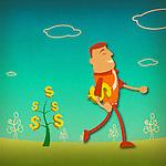 Businessman carrying a dollar sign