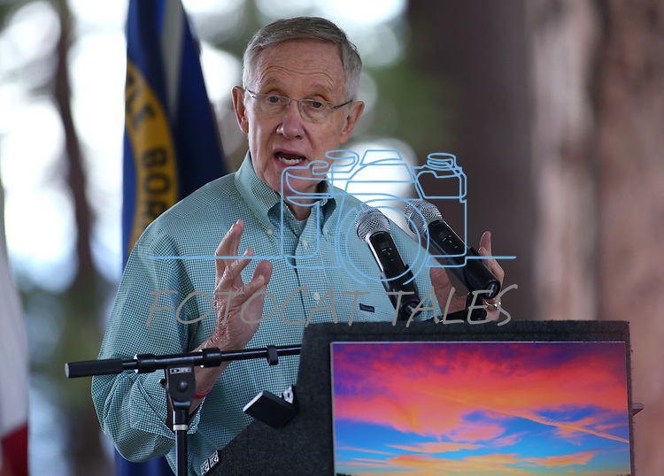 U.S. Senate Majority Leader Harry Reid speaks at the 18th annual Lake Tahoe Summit at the Valhalla Estate in South Lake Tahoe, Ca., on Tuesday, Aug. 19, 2014. <br /> Photo by Cathleen Allison