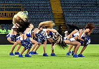 BOGOTÁ - COLOMBIA, 19-08-2018: Bastoneras de Millonarios animan a su equipo durante partido de la fecha 5 entre Millonarios y Deportivo Cali, por la Liga Aguila II-2018, jugado en el estadio Nemesio Camacho El Campin de la ciudad de Bogota. / Cheerleaders of Millonarios cheer for their team during a match of the 5th date between Millonarios and Deportivo Cali, for the Liga Aguila II-2018 played at the Nemesio Camacho El Campin Stadium in Bogota city, Photo: VizzorImage / Luis Ramirez / Staff.