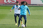 Getafe CF's Marc Cucurella (r) and Angel Rodriguez during training session. February 17, 2021.(ALTERPHOTOS/Acero)