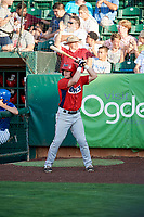 Richard Fecteau (22) of the Orem Owlz on deck against the Ogden Raptors in Pioneer League action at Lindquist Field on June 21, 2017 in Ogden, Utah. The Owlz defeated the Raptors 16-5. This was Opening Night at home for the Raptors.  (Stephen Smith/Four Seam Images)