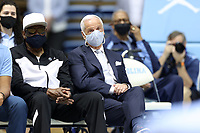 CHAPEL HILL, NC - APRIL 6: Newly retired UNC head coach Roy Williams during the Hubert Davis (not pictured) introductory press conference at Dean E. Smith Center on April 6, 2021 in Chapel Hill, North Carolina.