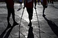 """BOGOTA -COLOMBIA. 13-04-2014.  Carrera atlética Presta tu Pierna 11K  """"Corre Contra las Minas"""" es una actividad deportiva que se realiza en el marco del Día Internacional para la Sensibilización Contra las Minas Antipersonal. Su tercera versión se realizó en cuatro ciudades de Colombia: Cali, Medellín, Ibagué y  hoy Bogotá, se vincularon a 11.000 corredores que se unieron a esta importante causa y expresar su rechazo contra estos artefactos que han dejado más de 10.000 víctimas en nuestro país. / Lend your athletic career Leg 11K """"Run Against Mine"""" is a sport that takes place in the framework of the International Day for Mine Awareness Against Antipersonnel. His third release was conducted in four cities in Colombia: Cali, Medellin, Ibague and Bogota today, were linked to 11,000 runners who joined this important cause and express their rejection of these artifacts that have left more than 10,000 victims in our country.Photo: VizzorImage/ Felipe Caicedo / Staff"""