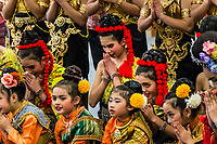 Dancers of the Thai Cultual Council of Berkeley face the audience to thank them and wish them happy new year at the end of the Lunar New Year Celebration at the San Leandro Library, San Leandro, California.