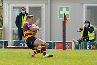 Will BROWN (14) of Ampthill scores his team's second try during the Greene King IPA Championship match between Ampthill RUFC and Jersey Reds at Dillingham Park, Ampthill, England on 1 May 2021. Photo by David Horn.