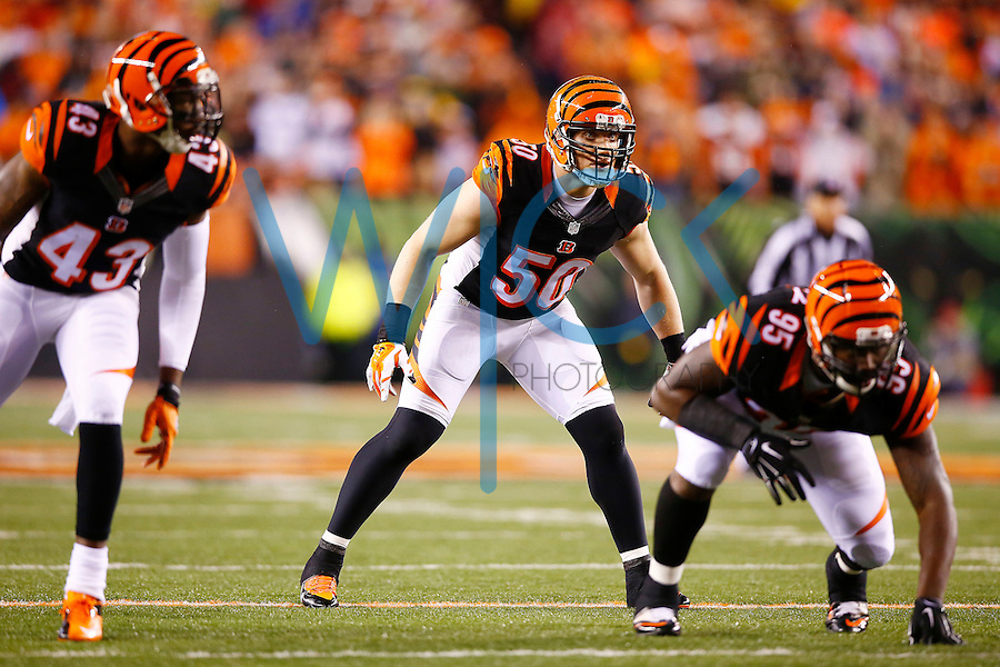 A.J. Hawk #50 of the Cincinnati Bengals in action against the Pittsburgh Steelers during the Wild Card playoff game at Paul Brown Stadium on January 9, 2016 in Cincinnati, Ohio. (Photo by Jared Wickerham/DKPittsburghSports)