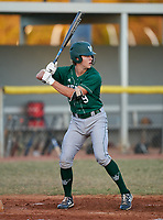 Venice Indians third baseman Colin Blazek (9) bats during a game against the Braden River Pirates on February 25, 2021 at Braden River High School in Bradenton, Florida.  (Mike Janes/Four Seam Images)