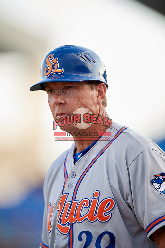 St. Lucie Mets manager Chad Kreuter (29) during a game against the Dunedin Blue Jays on April 20, 2017 at Florida Auto Exchange Stadium in Dunedin, Florida.  Dunedin defeated St. Lucie 6-4.  (Mike Janes/Four Seam Images)