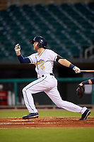 Montgomery Biscuits third baseman Grant Kay (6) follows through on a swing during a game against the Mississippi Braves on April 24, 2017 at Montgomery Riverwalk Stadium in Montgomery, Alabama.  Montgomery defeated Mississippi 3-2.  (Mike Janes/Four Seam Images)