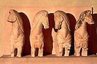 Greek Art:  Votive four-horse chariot, about 570 B.C.  Acropolis Museum.