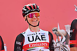 Tadej Pogacar (SLO) UAE Teqam Emirates at sign on before the start of Stage 1 of the 2021 UAE Tour the ADNOC Stage running 176km from Al Dhafra Castle to Al Mirfa, Abu Dhabi, UAE. 21st February 2021.  <br /> Picture: LaPresse/Gian Mattia D'Alberto | Cyclefile<br /> <br /> All photos usage must carry mandatory copyright credit (© Cyclefile | LaPresse/Gian Mattia D'Alberto)