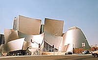 Frank Gehry: Walt Disney Concert Hall, 1988-2003. Entrance, wide-angle from N.E. corner, Grand and First St., Los Angeles.  Photo '04.