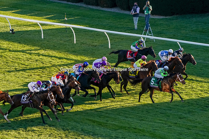 November 6, 2020: Horses race during the Juvenile Fillies Turf on Breeders' Cup Championship Friday at Keeneland on November 6, 2020: in Lexington, Kentucky. John Voorhees/Eclipse Sportswire/Breeders Cup/CSM