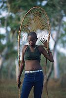Eloise Yunkaporta with fish net, Aurukun, Cape York Peninsula.