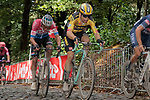 Wout Van Aert (BEL) Jumbo-Visma followed by Dutch Champion Mathieu Van der Poel (NED) Alpecin-Fenix on the third ascent of the Kemmelberg during the 82nd edition of Gent-Wevelgem 2020 running 232km from Ypres to Wevelgem, Belgium. 11th October 2020.  <br /> Picture: Colin Flockton   Cyclefile<br /> <br /> All photos usage must carry mandatory copyright credit (© Cyclefile   Colin Flockton)