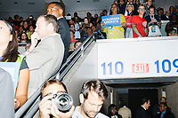 People watch as Vice President Joe Biden speaks at the Democratic National Convention at the Wells Fargo Center in Philadelphia, Pennsylvania, on Wed., July 27, 2016.