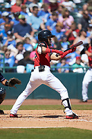 Miguel Aparicio (5) of the Hickory Crawdads squares to bunt against the Charleston RiverDogs at L.P. Frans Stadium on May 13, 2019 in Hickory, North Carolina. The Crawdads defeated the RiverDogs 7-5. (Brian Westerholt/Four Seam Images)