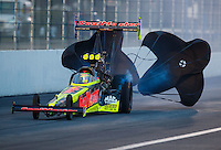 Feb 11, 2017; Pomona, CA, USA; NHRA top fuel driver Troy Coughlin Jr during qualifying for the Winternationals at Auto Club Raceway at Pomona. Mandatory Credit: Mark J. Rebilas-USA TODAY Sports