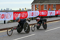 3rd October 2021; London, England: The Virgin Money 2021 London Marathon: David Weir of Great Britain crossing Narrow Street Swing Bridge, Limehouse Basin between mile 14 and 15.
