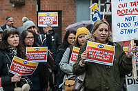 John McDonnel MP joins striking tax office workers in Ealing West London. 30-1-20