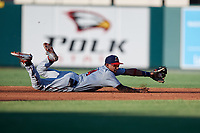 Fort Myers Miracle shortstop Royce Lewis (4) makes a diving stop during a game against the Lakeland Flying Tigers on August 7, 2018 at Publix Field at Joker Marchant Stadium in Lakeland, Florida.  Fort Myers defeated Lakeland 5-0.  (Mike Janes/Four Seam Images)