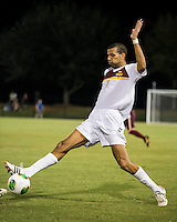 The Winthrop University Eagles played the College of Charleston Cougars at Eagles Field in Rock Hill, SC.  College of Charleston broke the 1-1 tie with a goal in the 88th minute to win 2-1.  Achille Obougou (7)