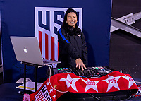 COLUMBUS, OH - NOVEMBER 07: A US Soccer DJ entertains the crowd during a game between Sweden and USWNT at Mapfre Stadium on November 07, 2019 in Columbus, Ohio.
