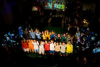 Representatives of all the WPS teams pose with their new kits during the Puma WPS uniform unveiling in Philadelphia, PA.