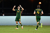 LAKE BUENA VISTA, FL - JULY 18: Diego Valeri #8 of the Portland Timbers celebrates his goal during a game between Houston Dynamo and Portland Timbers at ESPN Wide World of Sports on July 18, 2020 in Lake Buena Vista, Florida.
