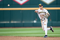 Michigan Wolverines shortstop Jack Blomgren (2) makes a throw to first base during Game 1 of the NCAA College World Series against the Texas Tech Red Raiders on June 15, 2019 at TD Ameritrade Park in Omaha, Nebraska. Michigan defeated Texas Tech 5-3. (Andrew Woolley/Four Seam Images)