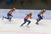 SPEEDSKATING: 22-11-2019 Tomaszów Mazowiecki (POL), ISU World Cup Arena Lodowa, Team Sprint Men (NED), Thomas Krol, Kjeld Nuis, Ronald Mulder, ©photo Martin de Jong