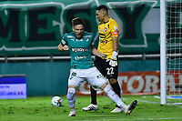 PALMIRA - COLOMBIA, 19-10-2020: Agustin Palavecino del Cali celebra después de anotar el tercer gol de su equipo durante partido entre Deportivo Cali e Independiente Santa Fe por la fecha 15 de la Liga BetPlay DIMAYOR I 2020 jugado en el estadio Deportivo Cali de la ciudad de Palmira. / Agustin Palavecino of Cali celebrates after scoring the third goal of his team during match between Deportivo Cali and Independiente Santa Fe for the date 15 as part of BetPlay DIMAYOR League I 2020 played at Deportivo Cali stadium in Palmira city.  Photo: VizzorImage / Nelson Rios / Cont