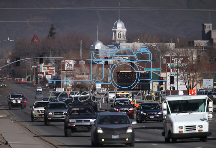 Traffic was diverted around the downtown area Monday, Jan. 5, 2015 as hundreds gathered for the inaugural ceremony at the Capitol. (Las Vegas Review-Journal/Cathleen Allison)